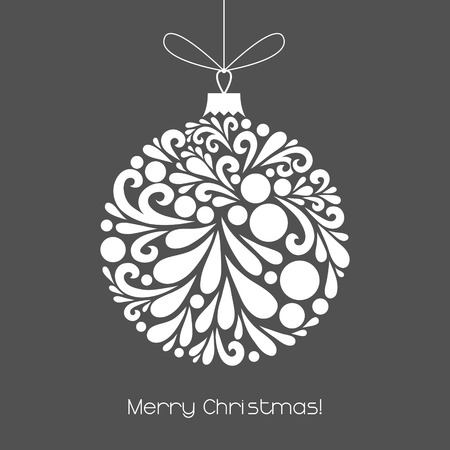 Vector Christmas decoration made from swirl shapes. Unusual circle design element. Greeting, invitation card. Simple decorative gray and white illustration for print, web. Vettoriali