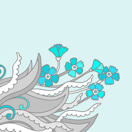 Floral decor for a card or invitation. Vector illustration in blue and gray tones. Vector