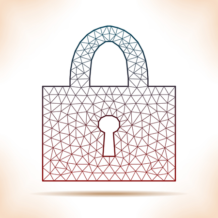 personally: Geometric padlock. Unusual interpretation for article, flyer or other. Illustration