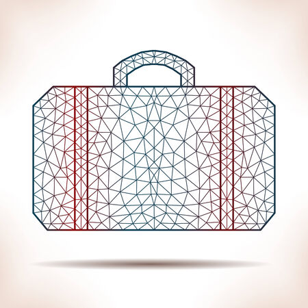 interpretation: Geometric suitcase. Unusual interpretation for flyer, card or other.