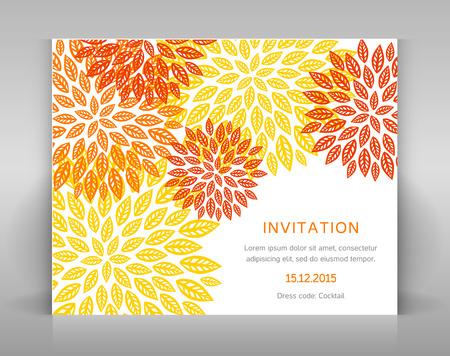 Orange floral invitation in orange tones. Çizim