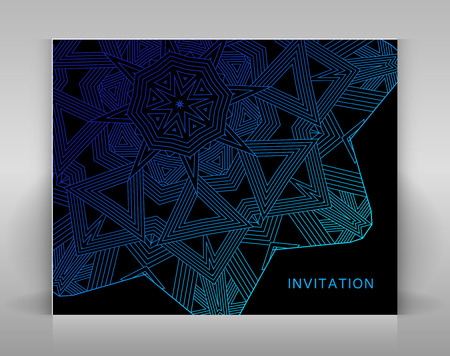 envelop: Black card with geometric decoration. Template for invitation, envelop or other.