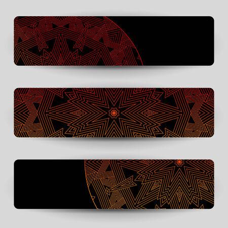 divergent: Black backgrounds with geometric decoration. For banner, bookmark, header or other. Illustration