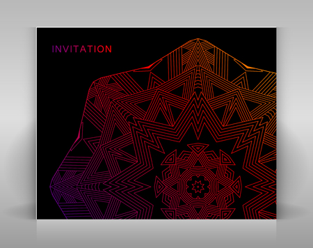 envelop: Black invitation with geometric decoration. Template for card, envelop or other.
