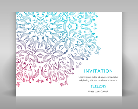 envelop: Card with floral decoration. Template for invitation, envelop or other.