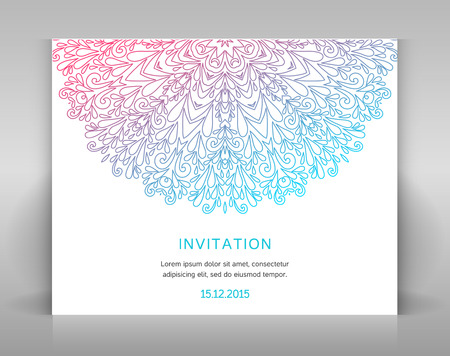 envelop: White invitation card with floral decoration.