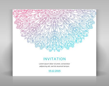 fashion magazine: White invitation card with floral decoration.