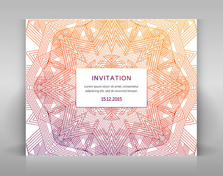 envelop: Card with linear decoration. For invitation, envelop or other.
