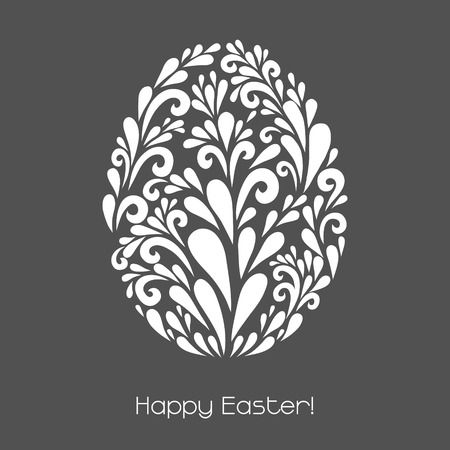 Happy easter vector decoration made from swirl shapes greeting vector decoration made from swirl shapes greeting invitation card simple stopboris Choice Image