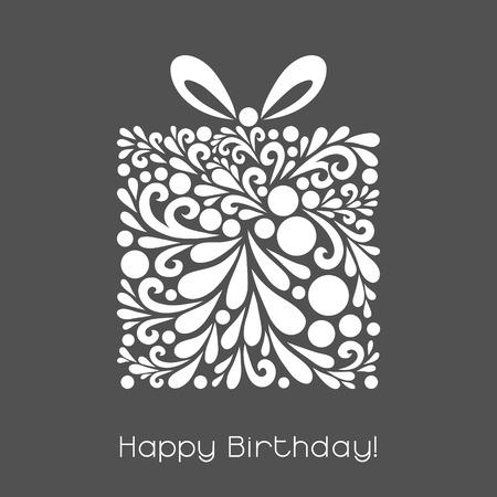 Feliz cumpleaños. Decoración del vector hecha de formas de remolino. Saludo, tarjeta de invitación. Simple decorativa gris y blanco ilustración para la impresión, web. Ilustración de vector