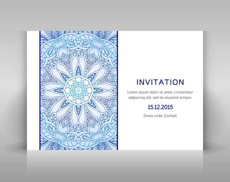 advertisment: White card with floral decoration. Vector template for invitation, envelop or other.