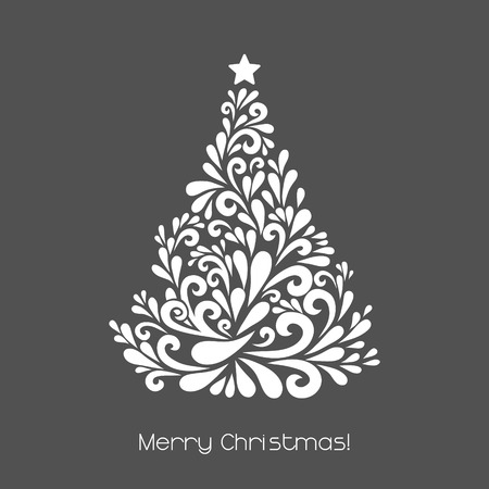 firs: Abstract Christmas tree. Vector decoration made from swirl shapes. Greeting, invitation card. Simple decorative gray and white illustration for print, web.