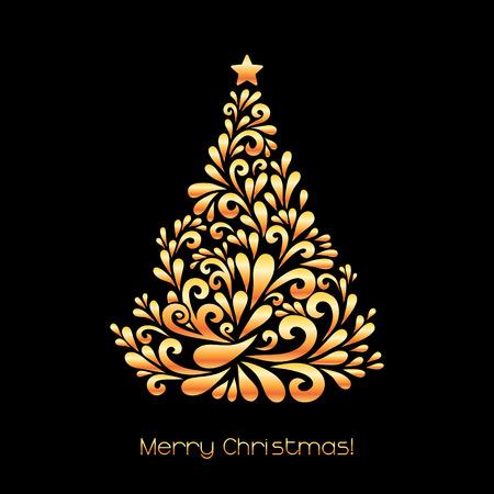 추상 크리스마스 트리입니다. 소용돌이 모양으로 만든 벡터 장식. 인사말, 초대 카드. 간단한 장식 검은 색과 인쇄 골드 그림, 웹.