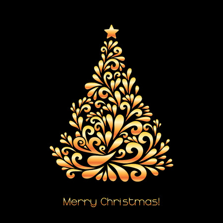 Abstract Christmas tree. Vector decoration made from swirl shapes. Greeting, invitation card. Simple decorative black and gold illustration for print, web.