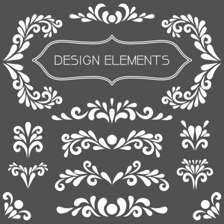 White design elements. Vector floral decoration made from swirl shapes.