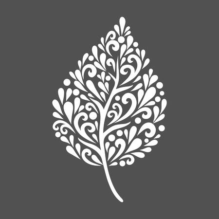 healthy growth: Leaf. Vector decoration made from swirl shapes. Simple decorative gray and white illustration for print, web. Illustration