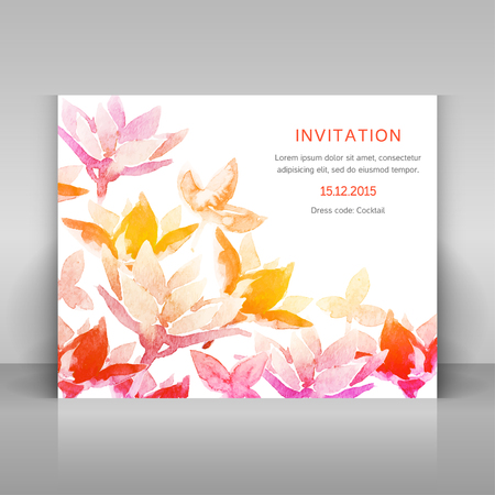 Invitation with watercolor flowers. Vector template. Vector