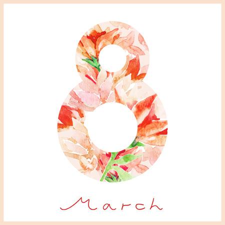 Watercolor spring card. Happy Woman