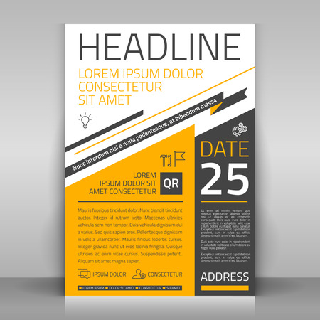 article: Business flyer design, broshure cover template. Vector mock up.