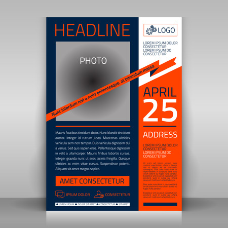corporate event: Business flyer design, broshure cover template. Vector mock up.