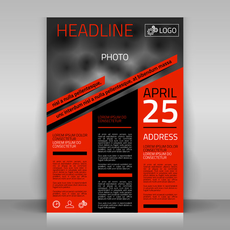 events: Business flyer design, broshure cover template. Vector mock up.