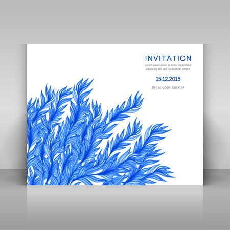 alga: Card with watercolor flowers. Vector template. Illustration