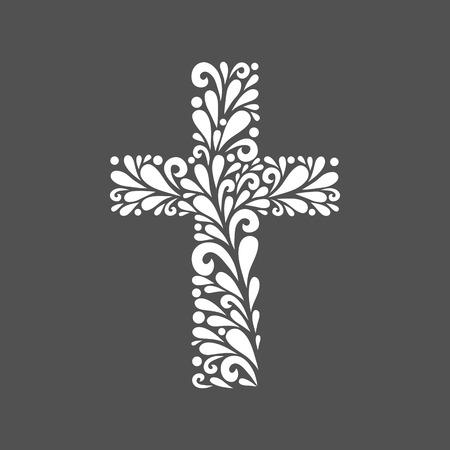 フローラル クロス。ベクトル花飾り渦巻図形から作られました。印刷、web 用のシンプルな装飾的なグレーと白イラスト。