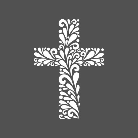 Floral cross. Vector floral decoration made from swirl shapes. Simple decorative gray and white illustration for print, web.