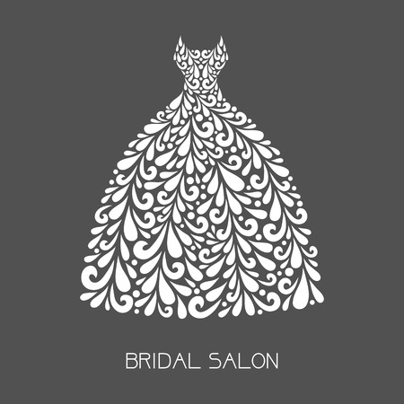 royal wedding: Wedding dress. Vector floral decoration made from swirl shapes. Simple decorative gray and white illustration for print, web.