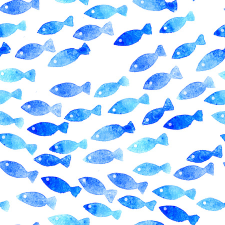 Blue watercolor fishes seamless pattern.