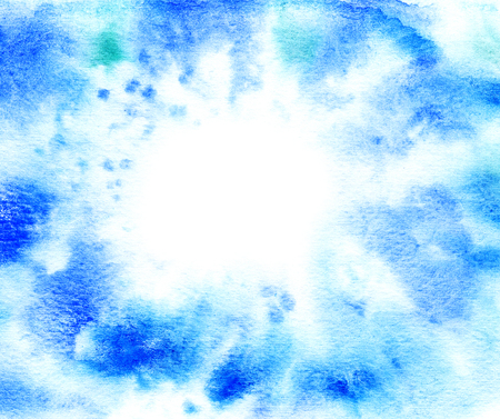 Blue abstract watercolor background with empty space for your text. photo