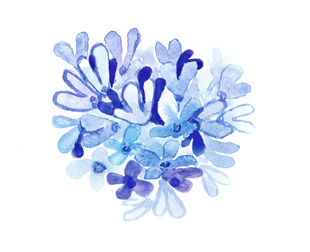 Blue watercolor flowers. For card, invitation, certificate or other. photo