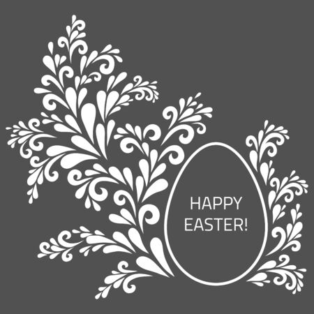 chaplet: Easter card. Vintage floral decoration made from swirl shapes. Greeting, invitation card. Simple decorative gray and white illustration for print, web.