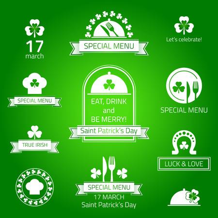 irish pub label design: Happy St Patricks day. Restaurant menu emblems - vector illustration.