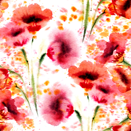 Red flowers seamless background. Watercolor pattern. photo