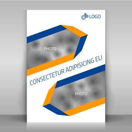 La conception d'affaires dépliant, brochure modèle de couverture de conception avec des bandes (le long des diagonales) et lieux de photo. Banque d'images - 38393387