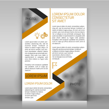 Business flyer design, brochure cover template. Design with strips (along the diagonals) and icons. Layout with beige and gray elements on white. Include space for a photo.