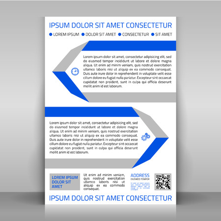 article marketing: Business flyer design Brochure cover or article template. Layout with blue and gray flat elements.