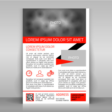 Business flyer. Design with red and black elements, and icons: time management, personal, service/support