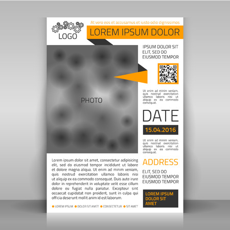 articles: Business flyer design, brochure cover template. Layout with place for photo. Illustration