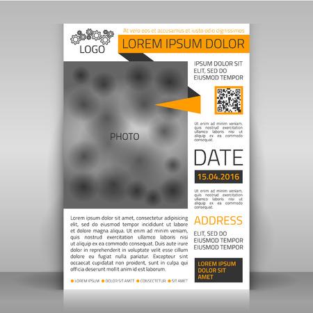 Zakelijke flyer ontwerp, brochure dekkingsmalplaatje. Lay-out met plaats voor foto.
