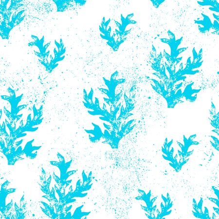 floral grunge: Floral grunge seamless texture. Wallpaper in blue color.