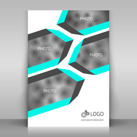 broshure: Business flyer. Broshure cover template. Vector mock up. Layout with place for a photo.