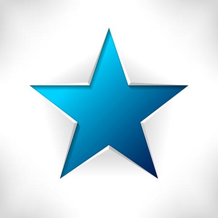 estrella azul: Estrella azul. Bandera del vector como el corte de papel. 3d resumen de antecedentes.