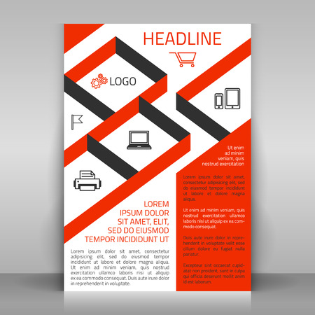 sectors: Business flyer design, poster template. Vector layout with orange diagonal elements and icons (market basket, laptop, phone and tablet, chekbox, printer). Sectors with icons can be used for photos.