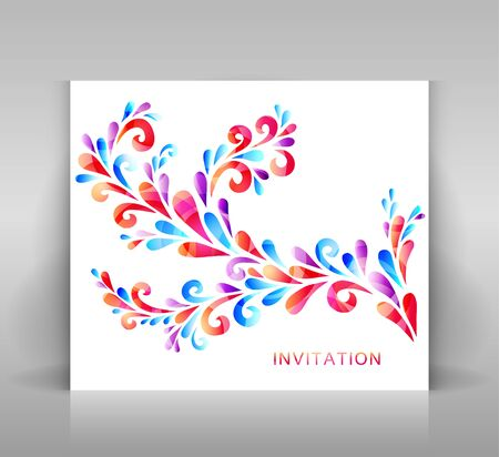 Invitation card with floral decoration. Decoration made from swirl elements. Red, violet and blue on white. Vector