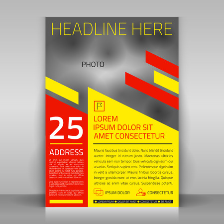 yellow photo: Business flyer design with yellow and red elements. Vector template with place for photo.