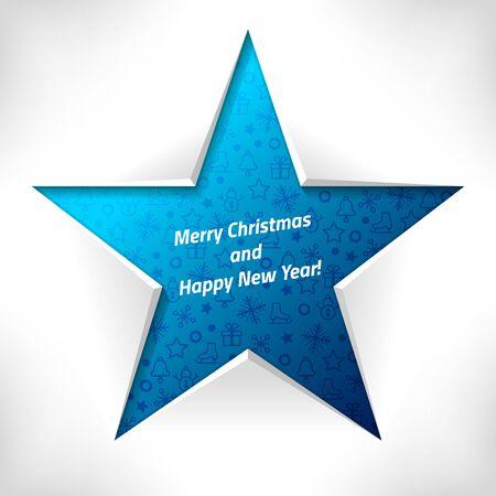 estrella azul: Tarjeta de Navidad. Estrella azul con el patr�n de la Navidad. Modelo del vector.