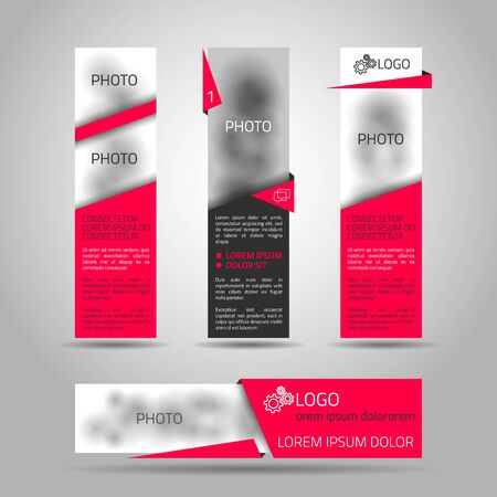 Set of fore red banners. Elements for web or print design. Vector 3d illustration. Place for photo included. Vector