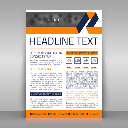 article marketing: Business  template. With 4 icons (speed, location, support, help). Can be used for corporate poster, article, brochure. Place for picture included. Illustration